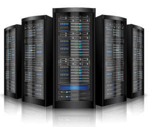 Web hosting servers, five servers displayed